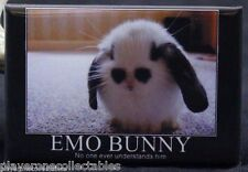"Emo Bunny - 2"" X 3"" Fridge / Locker Magnet. Demotivation Poster. Cute and Funny!"