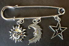 A Silver Tone Sun, Crescent Moon, Stars Amulet Charm Charm BROOCH Pin