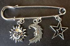 A Silver Tone Sun, Crescent Moon, Stars Amulet Charm Charm BROOCH Pin