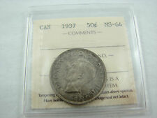 Canada 1937 50 cents Silver nice toning ICCS MS-64