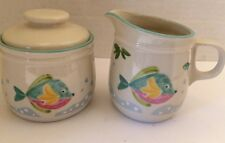 Mikasa Studio Nova Retired Barrier Reef Creamer & Open Sugar Bowl Tropical Fish