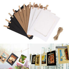 10Pc DIY Paper Photo Wall Art Picture Polaroid Hanging Album Frame + Rope Clips