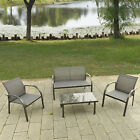 4PCS Patio Garden Furniture Set Steel Frame Outdoor Lawn Sofa Chairs Table Gray