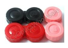 3x Contact Lens Soaking Storage Case Black/Pink/Red