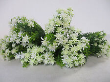 Pack of 6 Artificial White Blossom Bushes - 27 cm - Fake Foliage Flower Bushes