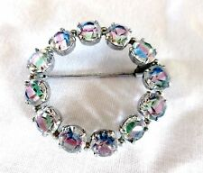 Brooch - Striped Glass Crystal Czech Tchecoslovaquie - Vintage Pin Wreath Circle