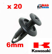 20 x Kawasaki ZX6R Ninja Motorcycle Fairing Panel Clips Plastic Screw Rivet 6mm