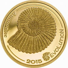 Mongolia 2015 Evolution of Life Ammonite 1000 Tugrik Gold Coin,Proof