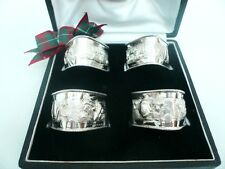 4 Solid Silver Napkin Rings, Indian, Sterling, Cased, Triangular, c.1920