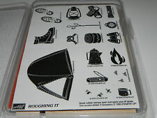 Stampin Up Roughing It Stamp Set Camping NEW UM Tent Camp Fire Marshmallow Boot