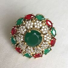 Turkish Jewelry 925 Sterling Silver Ruby Emerald Unique Ottoman Womens Ring 8.5