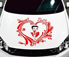 BETTY BOOP W/ TRIBAL HEART DECAL,VINYL,GRAPHIC,HOOD,SIDE OF CAR