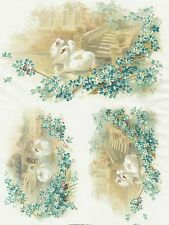 Rice Paper for Decoupage Decopatch Scrapbook Craft Sheet Vintage Swan Couple