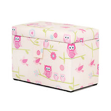 Owls Toy Chest Soft Closing Foam Padded Storage Children's Girls Bedroom Kids