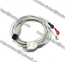 CONTEC 6 Pin 3 lead ECG Cable with Leadwire, PVC,Gilded Snap,For Patient Monitor