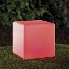 LED Cube mehrfarbig 30x30x30cm Würfel Gartenlampe Leucht mit Akku RGB Solar LK04