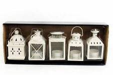 Set 5 Hanging Vintage Cream Metal Decorative Tea light Candle Holder Lanterns