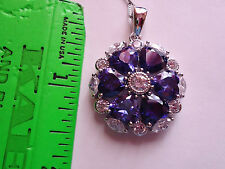NEW HEART Shaped Tanzanite Cluster Necklace Genuine Sterling Silver GREAT GIFT