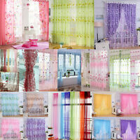 Colorful Print Sheer Curtain Panel Window Balcony Tulle Room Divider Valances