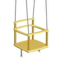 Kids Rope Swing Chair Seat Indoor Outdoor Playground, Tree Wooden Hanging