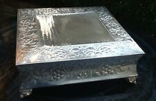 18 in Square Cake Plateau - Silver-Embossed-New - Wedding, Catering, Centerpiece