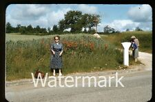 1950s red border kodachrome Photo slide Lady with dog BER2