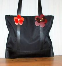Lamarthe Canvas and Leather Black Tote Flower details Awesome Zip Top Purse Bag