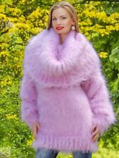 PINK Hand Knitted Mohair Sweater Fuzzy Cowlneck Boutique Soft Dress SUPERTANYA