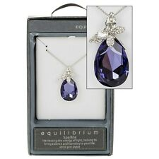 EQUILIBRIUM CLEAR CRYSTAL WHITE GOLD PLATED TEARDROP BUTTERFLY NECKLACE GIFT