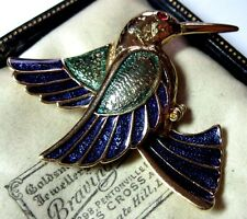 VINTAGE gioielli splendido Rosso Cristallo Kingfisher Bird SMALTO Scialle Pin Spilla