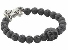 NEW King Baby Studio Men's Lava Rock Bead Jet Skull Ghost Biker/Rocker Bracelet