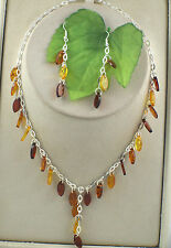 Ladies Sassi AM012 Sterling Silver 3 Colour Amber Necklace & Drop Earrings Set
