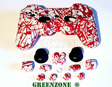 Replacement PS3 Blood Splatter Controller Shell Mod Kit + Matching Buttons Kit
