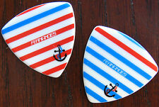 Wood Ship Anchor on Stripes - Sailors Guitar Picks 2 - Fernandes - Anchors Away!