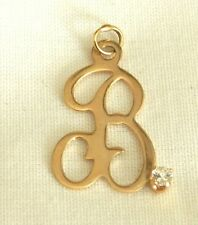 14k Gold Script Initial B Charm Pendant with Accent Stone