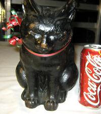 ANTIQUE LG. CLASSIC ARMOR BRONZE CLAD ART STATUE SCULPTURE CAT KITTEN DOORSTOP