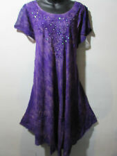 Dress Fits XL 1X 2X 3X 4X Plus Tunic Purple with Gold Wash Lace Sleeves NWT G517