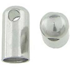 Stainless Steel Bullet End-caps with Loop for 4mm Cord or Ribbon 10pc