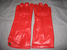 Ladies Genuine Leather Gloves Large Long Snap Unlined Red Black NEW!