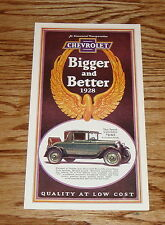 1928 Chevrolet Full Line Foldout Sales Brochure 28 Chevy