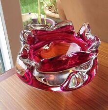 Rose rose à orange lourd art glass star candy dish-probablement murano