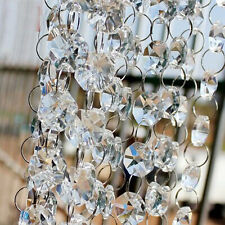 New 6ft Clear Crystal Chandelier Prism Lamp Octagon Bead Chain Wedding Pendant