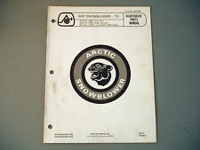 1973 Vintage Arctic Cat 8 HP Snowblower Parts Manual