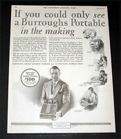 1927 OLD MAGAZINE PRINT AD, BURROUGHS PORTABLE ADDING MACHINES, WITH EASY TERMS!