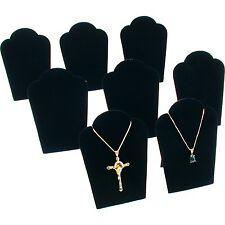 """8Pc Necklace Chain Display Pendant Black Velvet Jewelry Set 3 3/4"""" x 5 1/4"""""""