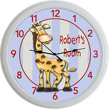 Jungle Animal Safari Giraffe Custom Personalized Wall Clock Baby Nursery New 10""