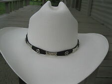 Hat Band #924BL - Leather - Black with Stars, Conchos & Silver Plated Buckle Set