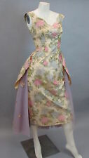 Stunning Vintage Mignon Paris NY Silk Floral Dress with Tulle Outer Skirt