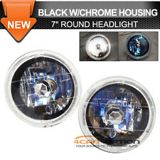 Set 7 Inch Round Front Headlight Lamp White Halo H4 Bulb Black Chrome Clear Lens