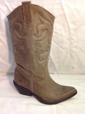 Office London Brown Mid Calf Leather Boots Size 36
